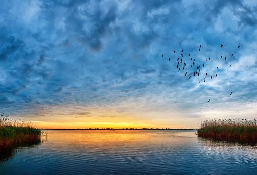 sunset over Danube river