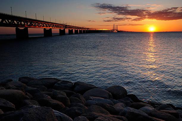 Sunset over Denmark stock photo