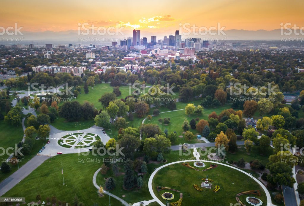 Sunset over Denver cityscape, aerial view from the park royalty-free stock photo