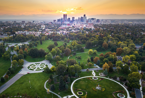 Sunset Over Denver Cityscape Aerial View From The Park Stock Photo - Download Image Now