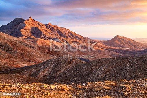 Sunset over desert mountains of Fuerteventura, Canary islands, Spain