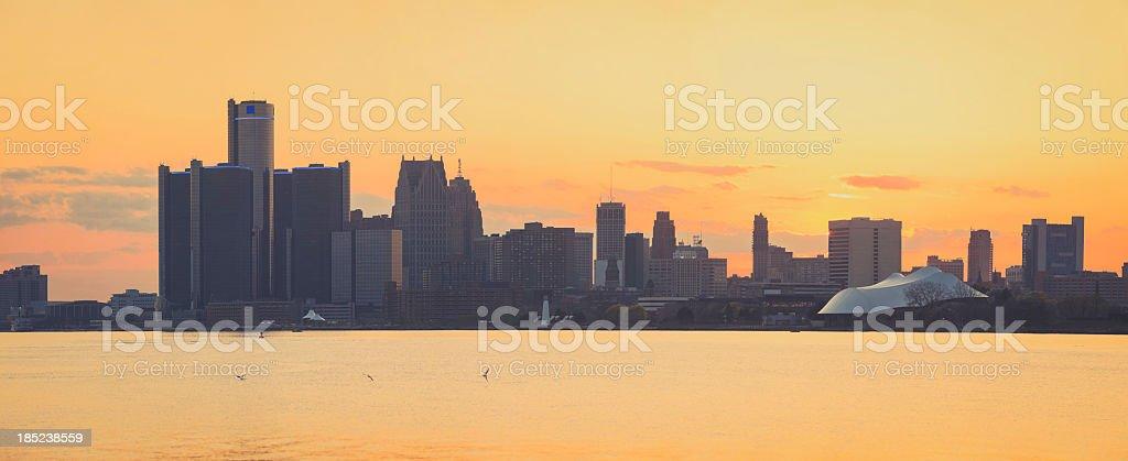 Sunset over Detroit, Michigan stock photo