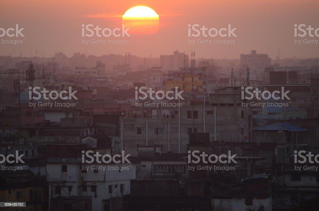 Sunset over Dhaka, Bangladesh stock photo