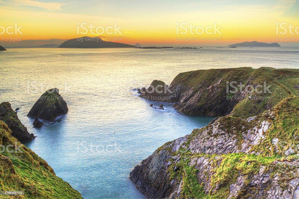Sunset over Dingle Peninsula in Ireland stock photo