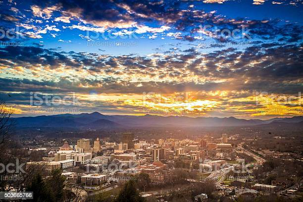 Sunset Over Downtown Asheville North Carolina Nc Stock Photo - Download Image Now