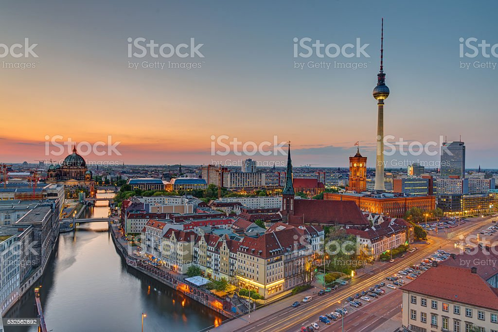 Sunset over downtown Berlin stock photo