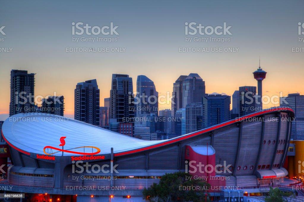 Sunset Over Downtown Calgary and Saddledome stock photo