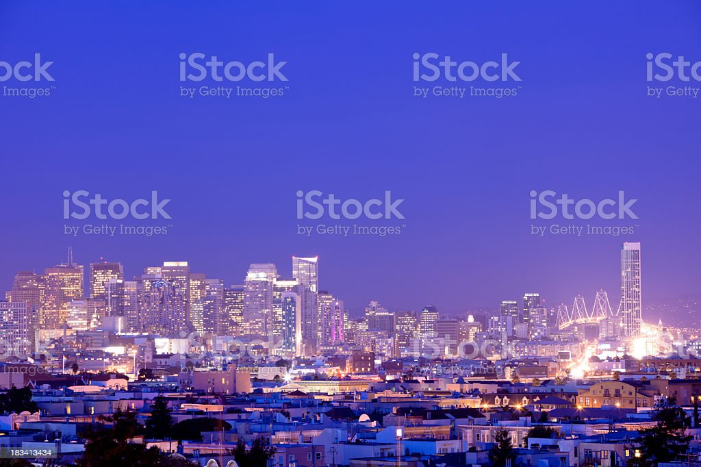 Sunset over downtown in San Francisco stock photo