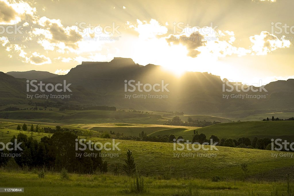 Sunset over Drakensberg mountains, South Africa stock photo