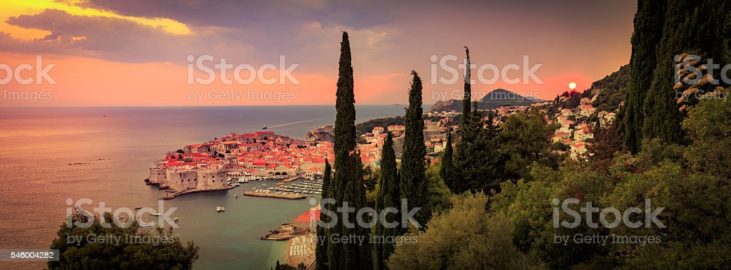 Sunset over Dubrovnik in Croatia stock photo