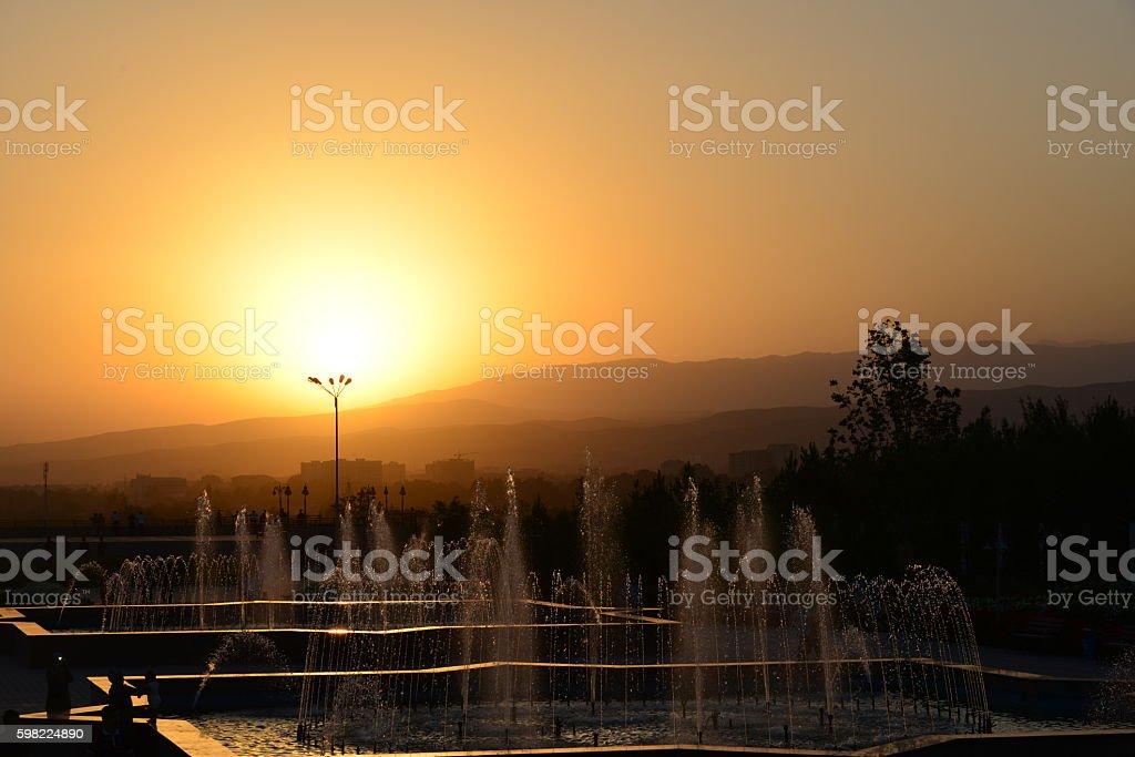 Sunset over Dushanbe, Tajikistan foto royalty-free
