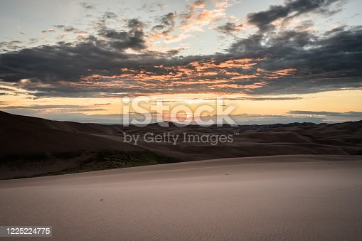 Sunset Over Endless Sand Dunes in Colorado wilderness