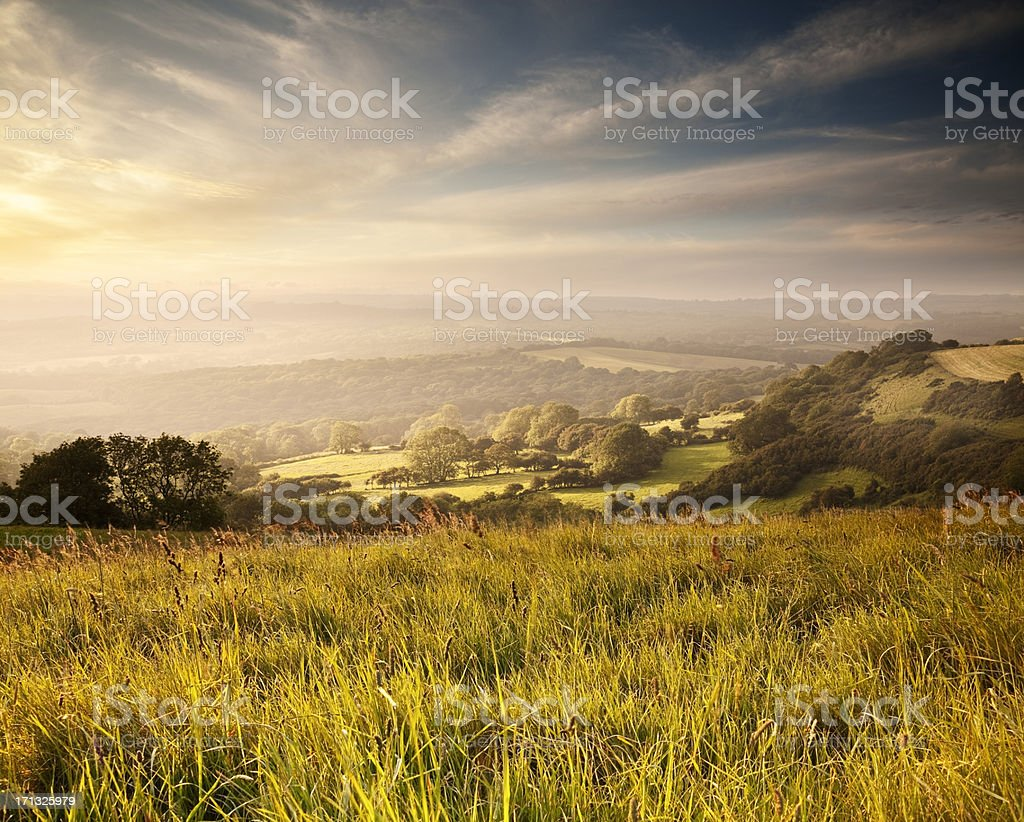Sunset over English countryside in Dorset stock photo
