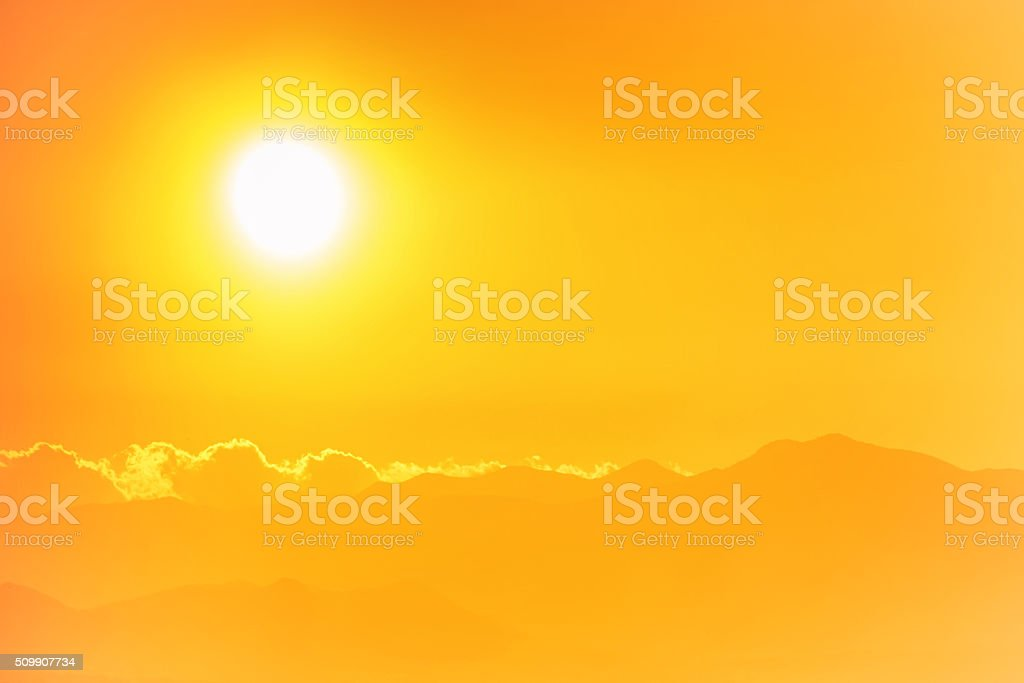Sunset over europian city stock photo