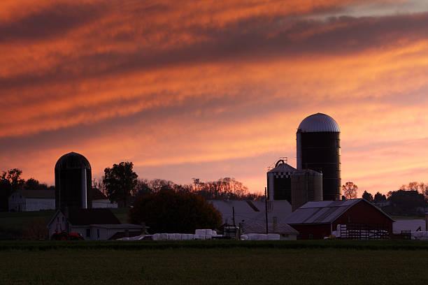 Sunset over farm house