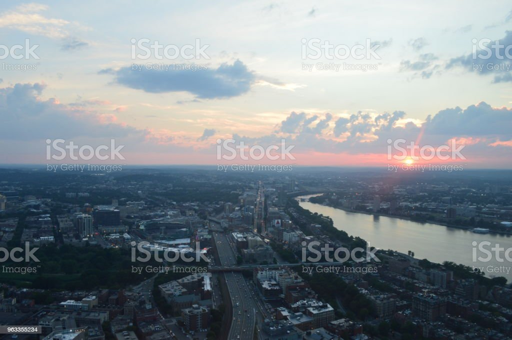 Sunset over Fenway and the River Charles stock photo