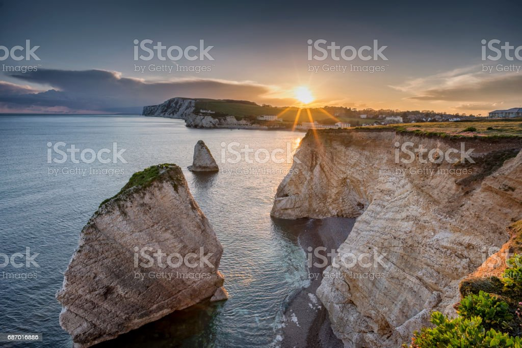 Sunset over Freshwater Bay, Isle of Wight, England stock photo