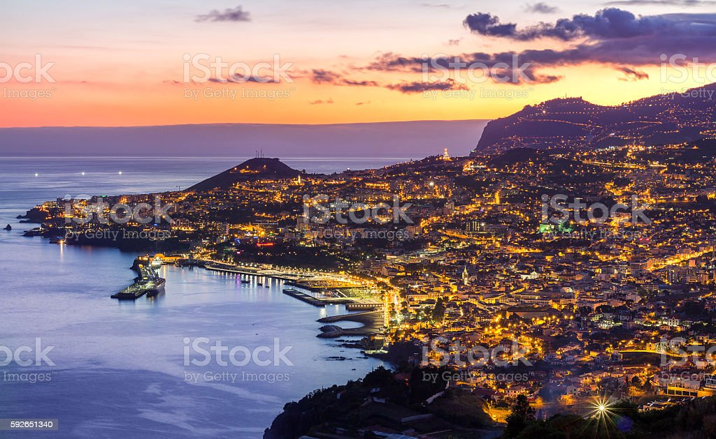 Sunset over Funchal, Madeira, Portugal stock photo