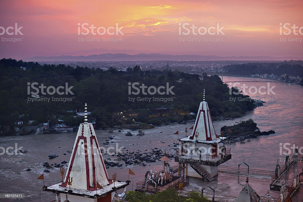 Sunset over Ganges river stock photo