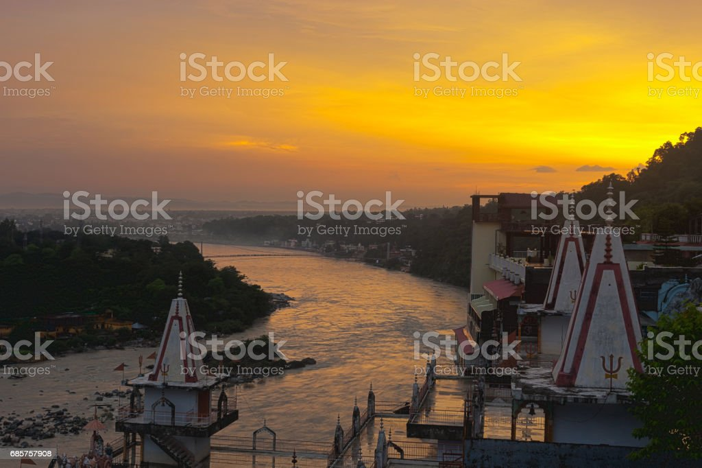Sunset over Ganges river royalty free stockfoto