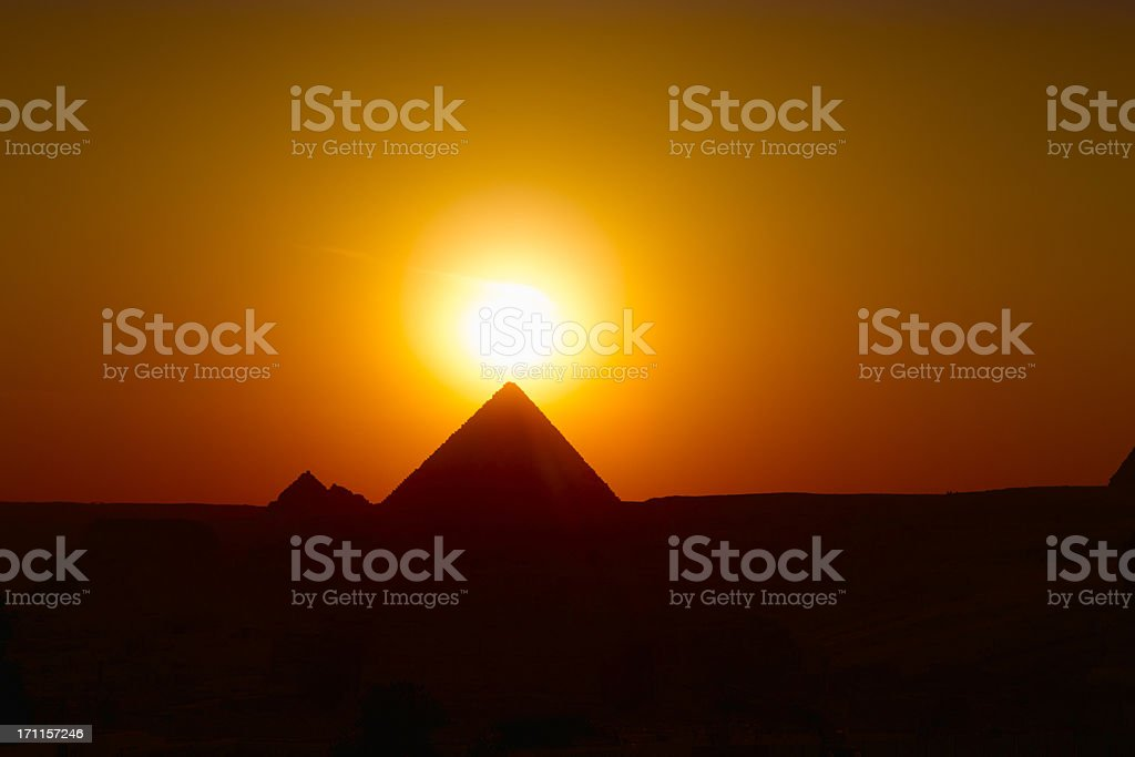 sunset over Gizeh stock photo