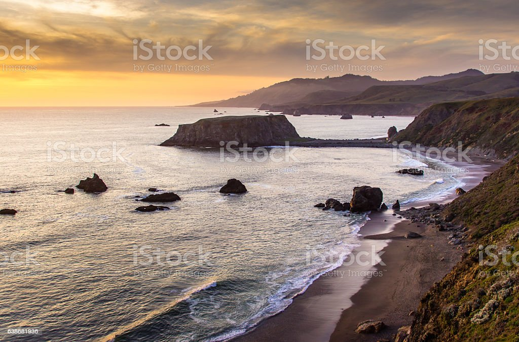 Sunset Over Goat Rock, Northern California stock photo