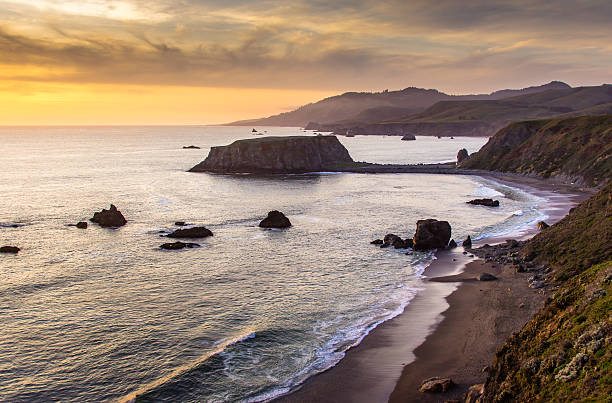 sunset over goat rock, northern california - halbergman stock pictures, royalty-free photos & images