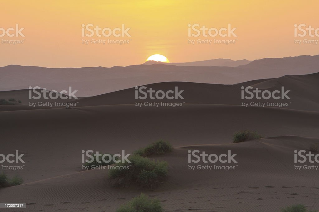 Sunset over Gobi desert royalty-free stock photo