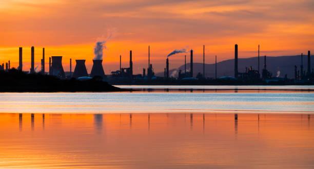 Sunset over Grangemouth stock photo