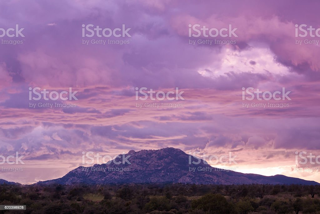 Sunset Over Granite Mountain stock photo