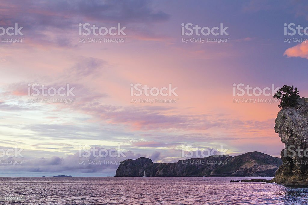 Sunset over Great Barrier Island stock photo