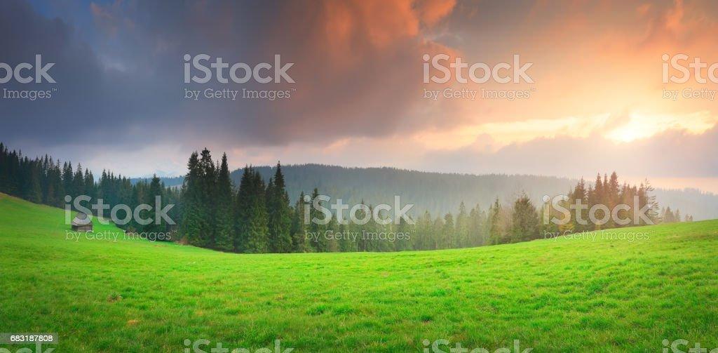 Sunset over green valley 免版稅 stock photo