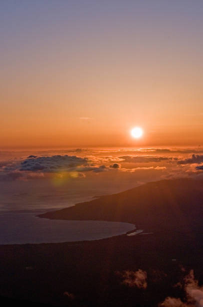 Sunset over Haleakala stock photo