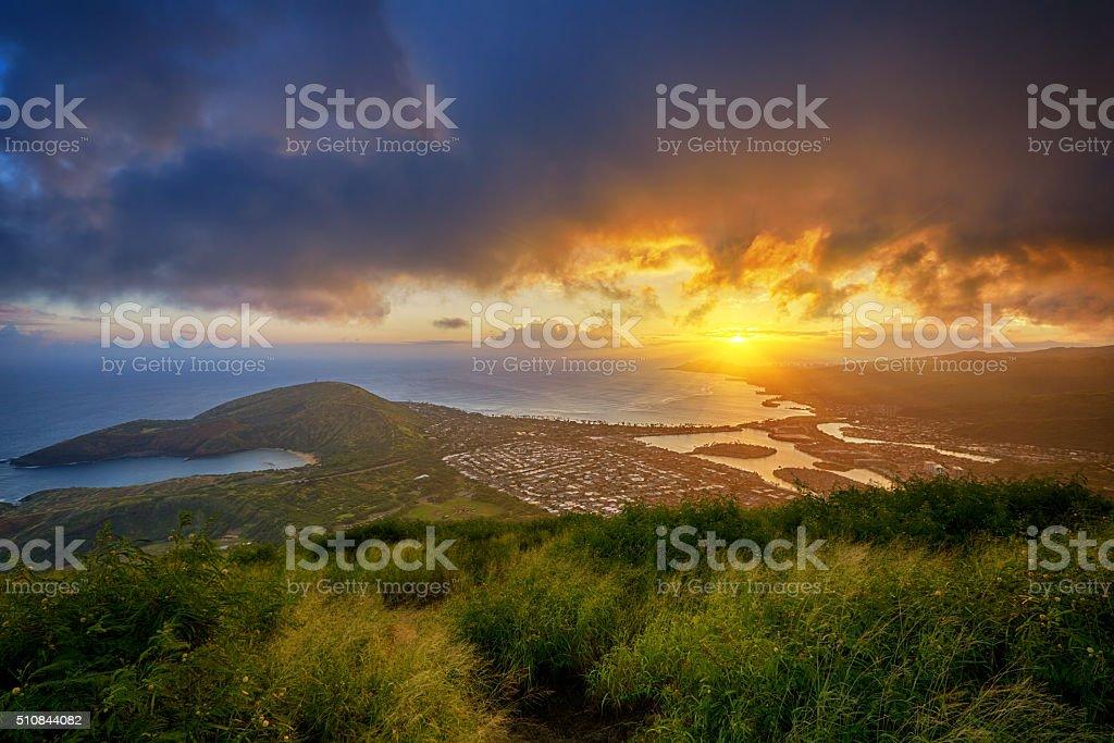 sunset over Hanauma Bay from Koko Head Crater stock photo