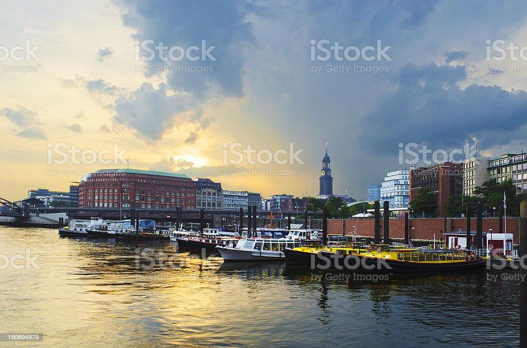Sunset over harbor stock photo