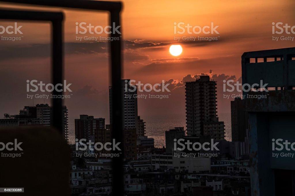 Sunset over Havana stock photo