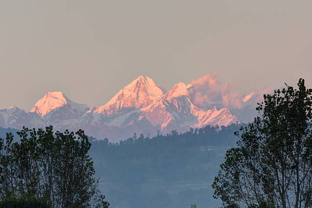 Sunset over Himalayas stock photo