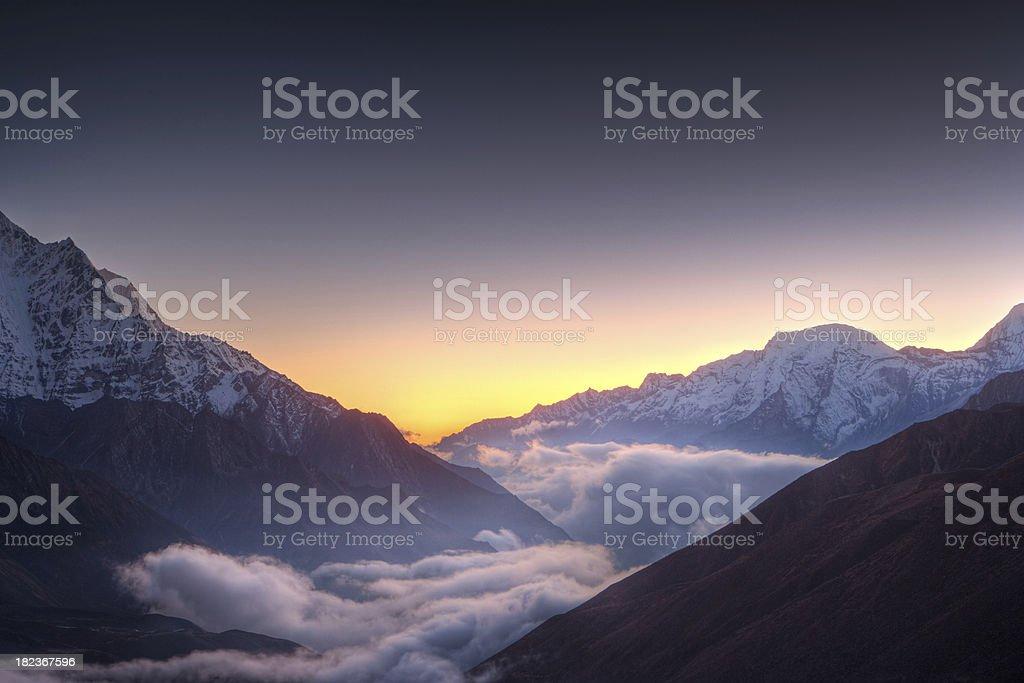 Sunset over Himayas stock photo