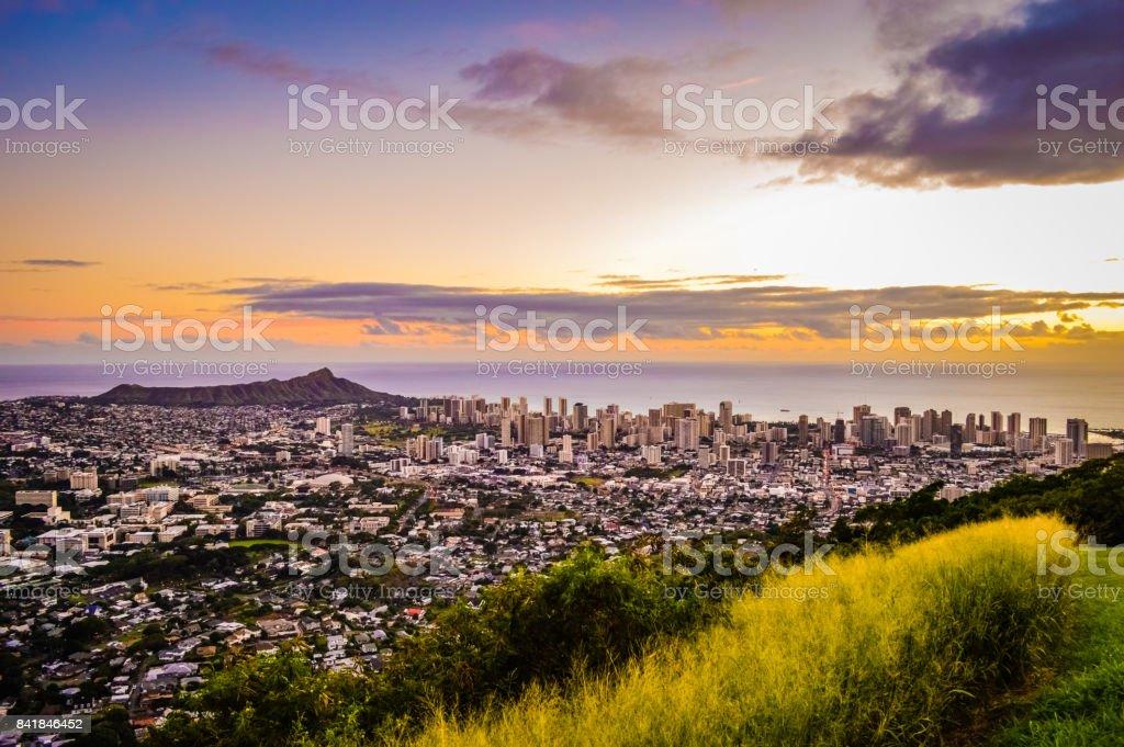 Sunset over Honolulu stock photo