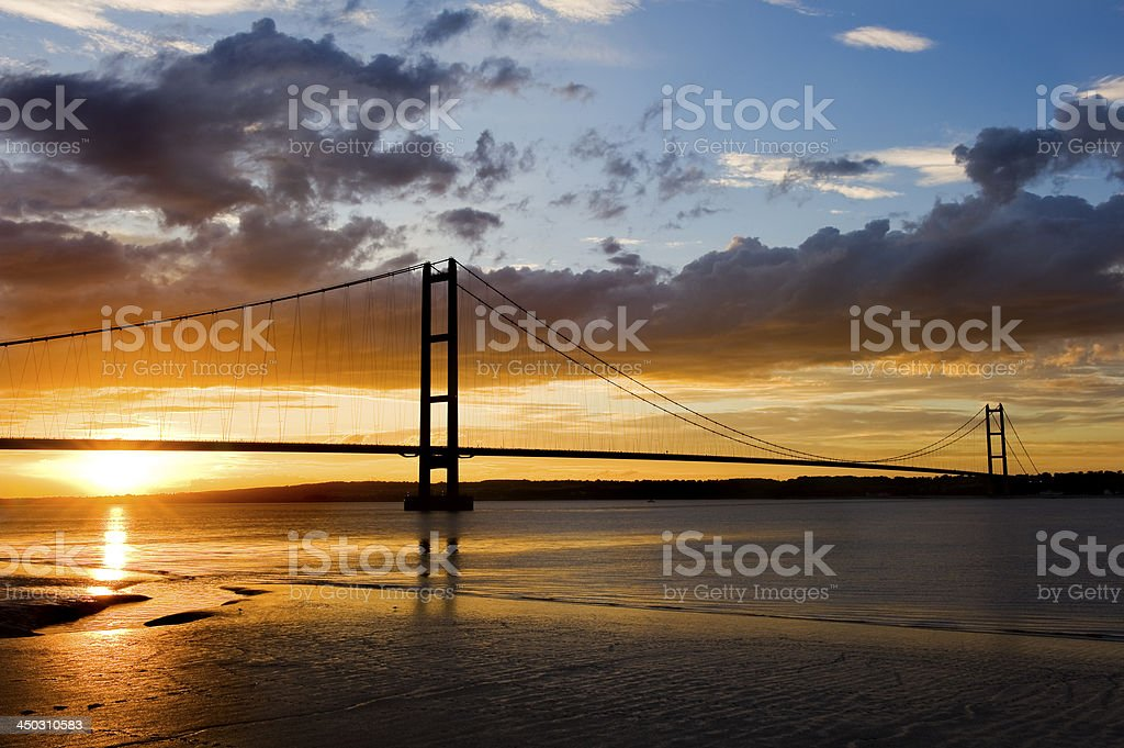 Sunset over Humber Bridge stock photo