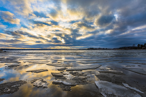Sunset over ice floes