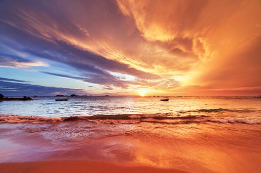 Magic sunset on Hikkaduwa coral beach, Sri Lanka