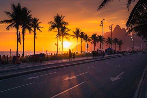 Sunset over Ipanema Beach with palms in Rio de Janeiro, Brazil