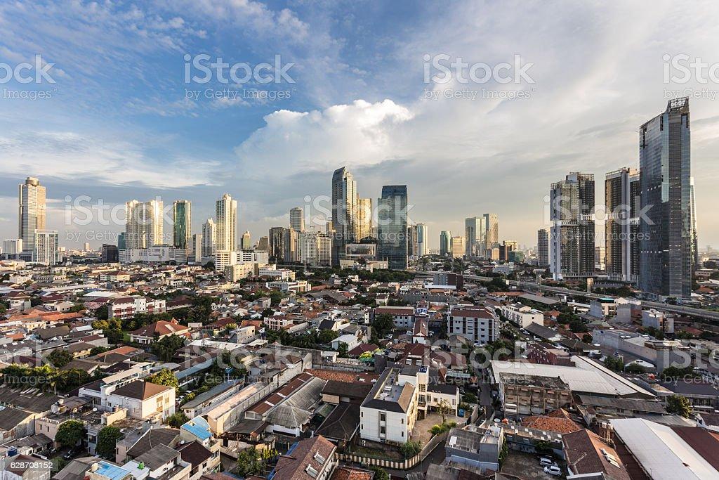 Sunset over Jakarta stock photo