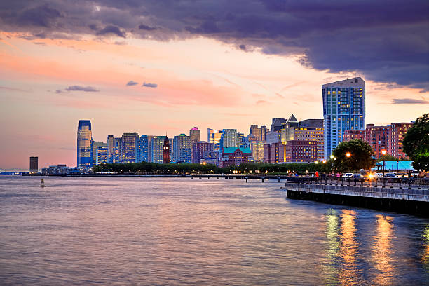 """Sunset over Jersey City, NJ """"Water-shore of Jersey City on Hudson River, New Jersey"""" hudson river stock pictures, royalty-free photos & images"""