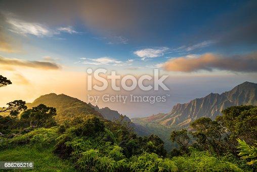 istock Sunset over Kalalau Valley 686265216
