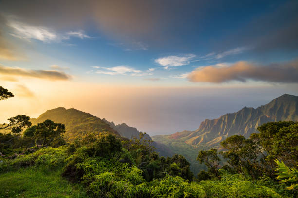 Sunset over Kalalau Valley stock photo