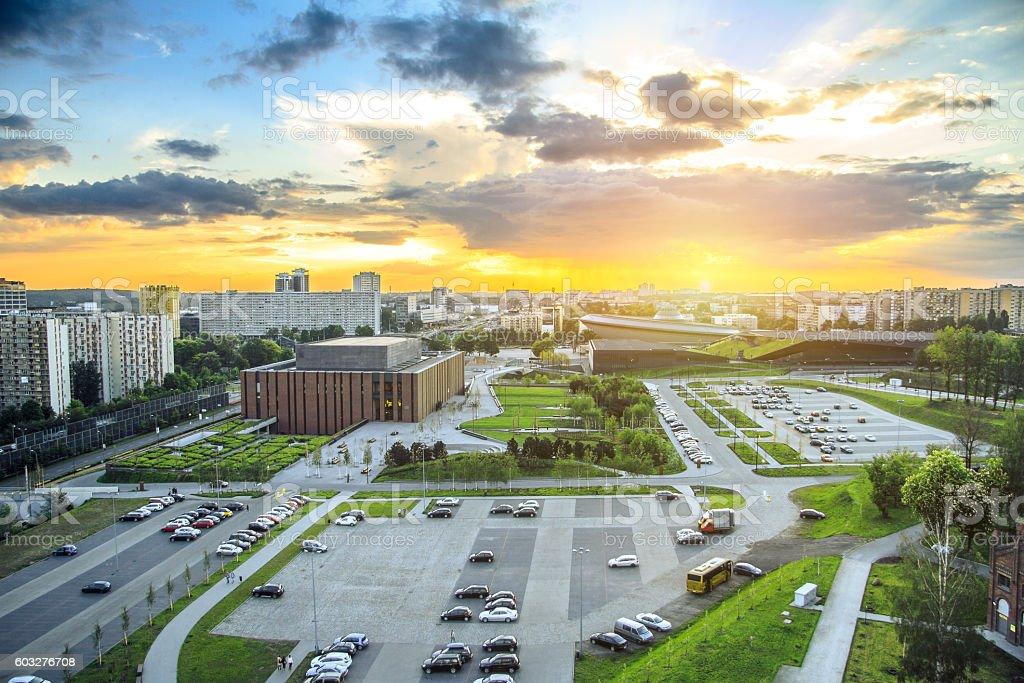 Sunset over Katowice stock photo