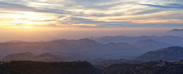 Sunset over Kings Canyon National Park stock photo