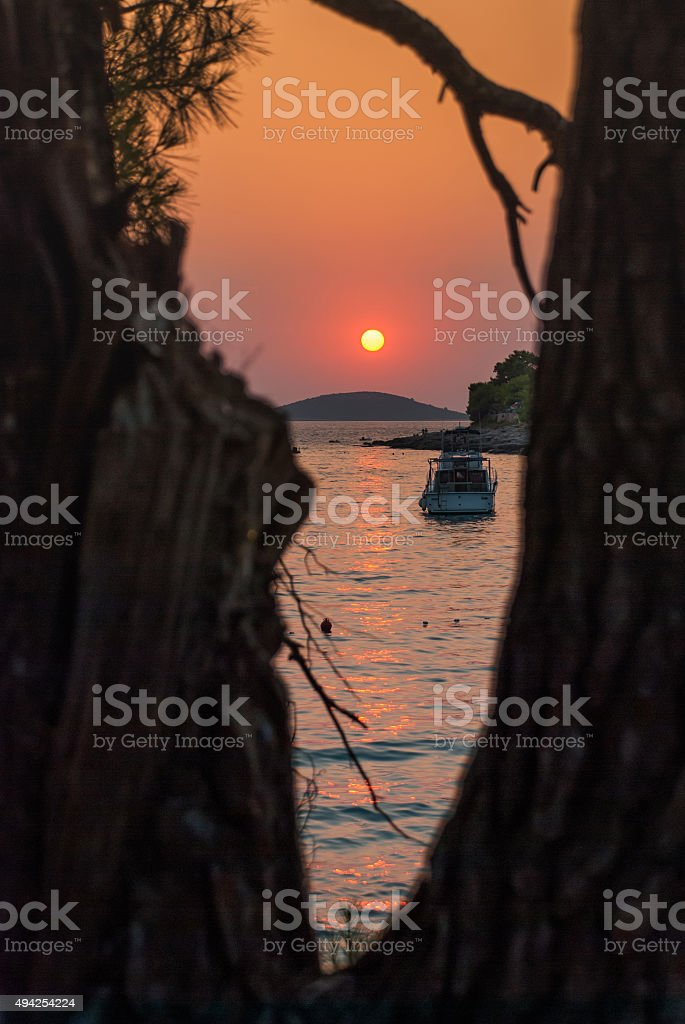 Sunset over Kornati Islands stock photo